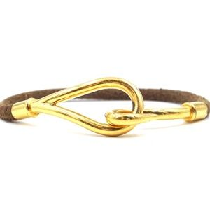 Brown Gold Jumboeather Cuff Bangle Bracelet
